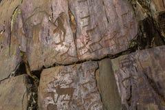 Петроглифы Алтай Старые картины утеса в горах Altai Стоковая Фотография RF