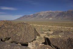 Петроглифы и белые горы Стоковая Фотография