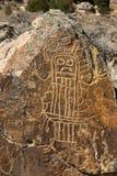 Петроглиф человеческой диаграммы, Вайоминга Стоковое Изображение RF