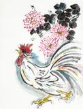 Петух и хризантема иллюстрация штока