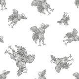 Петух Картина крана безшовная в винтажном стиле гравировки Предпосылка Grunge для ферм и показывать производства Стоковые Изображения RF