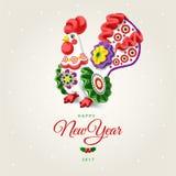 Петух Счастливая поздравительная открытка Нового Года 2017 Предпосылка белизны торжества Стоковая Фотография