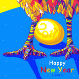 Петух Счастливая поздравительная открытка Нового Года 2017 Торжество с петухом, местом для вашего текста Стоковые Фото