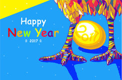 Петух Счастливая поздравительная открытка Нового Года 2017 Торжество с петухом, местом для вашего текста Стоковые Изображения