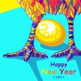 Петух Счастливая поздравительная открытка Нового Года 2017 Стоковое фото RF