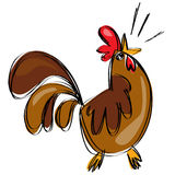 Петух шаржа коричневый кукарекая в стиле чертежа naif ребяческом Стоковое Изображение RF