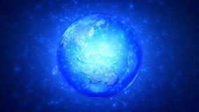 Петля глобуса 4K голубой частицы волшебная закручивая иллюстрация вектора