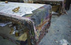 Печатание блока для ткани в Индии Печатание блока Tradi Джайпура Стоковое Изображение RF
