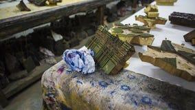 Печатание блока для ткани в Индии Печатание блока Tradi Джайпура Стоковые Изображения RF