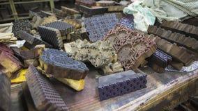 Печатание блока для ткани в Индии Печатание блока Tradi Джайпура Стоковое Изображение