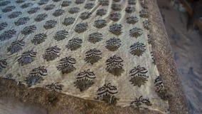 Печатание блока для ткани в Индии Печатание блока Tradi Джайпура Стоковое Фото