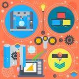 печатание концепции 3d и 3d технологии 3d плоское просматривая плоское infographics значков конструирует элементы сети, знамя пла Стоковые Изображения