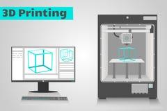 печатание 3D с компьютером Стоковое Фото