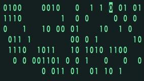 Печатать зеленого bynary кода быстрый случайный на петле предпосылки анимации дисплея плоской - новых качественных ретро винтажны видеоматериал