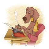 печатать на машинке собаки Стоковое Изображение