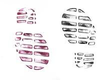 Печати ботинка ` s людей на белизне Стоковое Изображение RF