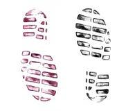Печати ботинка ` s людей на белизне Стоковые Изображения RF