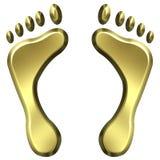 печати ноги 3d золотистые Стоковые Изображения