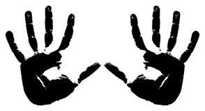 печати 2 черных рук Стоковые Изображения