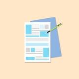 Печатный документ с вектором дизайна значков ручки плоским Стоковая Фотография RF