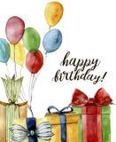 Печать акварели с днем рождения Вручите покрашенную карточку при воздушный шар, коробка и смычок изолированные на белой предпосыл иллюстрация штока