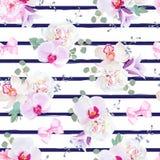 Печать вектора военно-морского флота голубая striped безшовная в фиолетовых, розовых и белых тонах с смычками иллюстрация штока