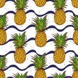 Печать вектора волн ананаса и военно-морского флота безшовная Стоковое Изображение RF