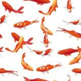 Печать вектора золотых рыб koi безшовная Стоковая Фотография