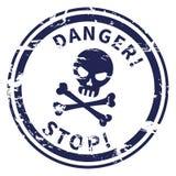 Печать вектора предупреждая - череп с текстом - опасность, стоп иллюстрация вектора
