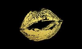 Печать губной помады яркого блеска вектора отпечатка губ поцелуя золота золотая Стоковое Изображение RF