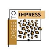 Печать дизайна моды с картиной леопарда Предпосылка африканской шкуры модная для плаката, печати, футболки, карточки иллюстрация штока