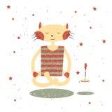 Печать детей Смешной Yogi кота Стоковые Фото