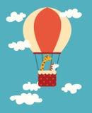 Печать животных воздушного шара Жираф и зебра в воздушном шаре в небе с облаками иллюстрация вектора