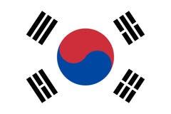Печать знамени изолята вектора флага Южной Кореи плоско иллюстрация штока
