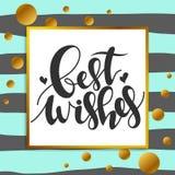 Печать каллиграфии - наилучшие пожелания Золотые декоративные точки состав для сети проектирует, поздравительные открытки, templ  иллюстрация вектора