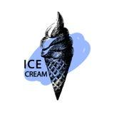 Печать конуса мороженого также вектор иллюстрации притяжки corel background card congratulation invitation Изолировано на белизне Стоковые Изображения