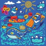 Печать лета с характерами кита и Tasmanian дьявола в декоративном орнаментальном стиле r иллюстрация вектора