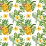 Печать лета тропическая Картина акварели безшовная с экзотическими заводами, цветками и плодами Зеленые лист ладони, ананас на бе иллюстрация штока