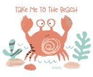 Печать младенца краба милая Сладкое морское животное укротите к пляжу - лозунгу текста иллюстрация вектора