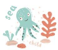 Печать младенца осьминога милая Сладкое морское животное Лозунг текста моря дето- иллюстрация штока