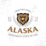 Печать моды одеяния графиков футболки старой школы Аляски текстурированная Ретро типографский дизайн значка сбор винограда типа л иллюстрация вектора
