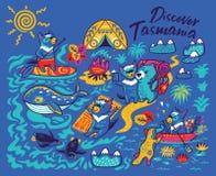Печать мультфильма с милым Tasmanian дьяволом и другими австралийскими животными в стиле мультфильма r бесплатная иллюстрация