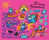 Печать мультфильма с милым Tasmanian дьяволом и другими австралийскими животными в стиле мультфильма r иллюстрация штока