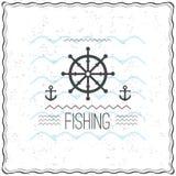 Печать на дизайне футболки с текстурированной морской темой Стоковое Фото