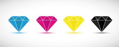 Печать основных цветов диамантов CMYK иллюстрация вектора