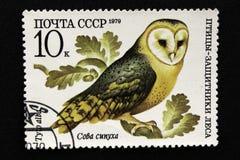 Печать почтового сбора СССР, серия - птицы - демонстранты леса, 1979 стоковая фотография