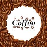 Печать предпосылки рамки кофейных зерен круглая иллюстрация штока
