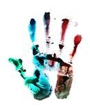 Печать руки на белой изолированной предпосылке Стоковое Изображение
