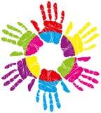 печать руки цвета иллюстрация штока