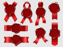 Печать свечи уплотнения Красные ленты с первоначальным вощия набором печатей почты резиновых винтажных уплотнений конверта докуме бесплатная иллюстрация